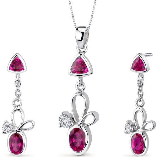 Oravo Dynamic 3.25 Carats Trillion and Oval Cut Sterling Silver Ruby Pendant Earrings Set