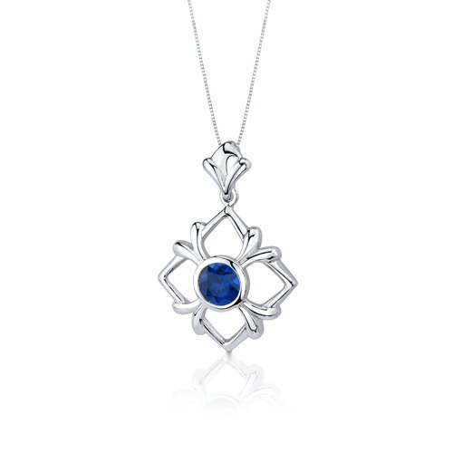 Oravo Floral Design 4.0 Carats Round Cut Sterling Silver Sapphire Pendant Earrings Set