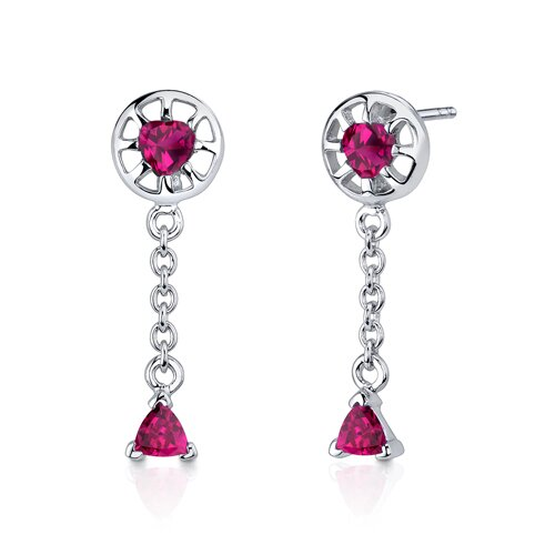 Oravo Dainty 2.25 Carats Trillion Heart Shape Sterling Silver Ruby Pendant Earrings Set