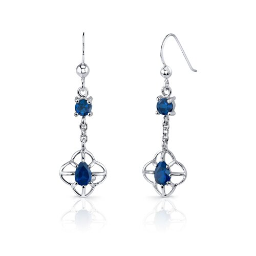 Oravo Dream Catcher Design 3.5 Carats Round Pear Shape Sterling Silver Sapphire Pendant Earrings Set