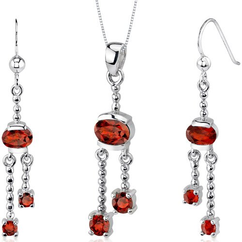 Oravo Charming 3.25 Carats Round Oval Shape Sterling Silver Garnet Pendant Earrings Set