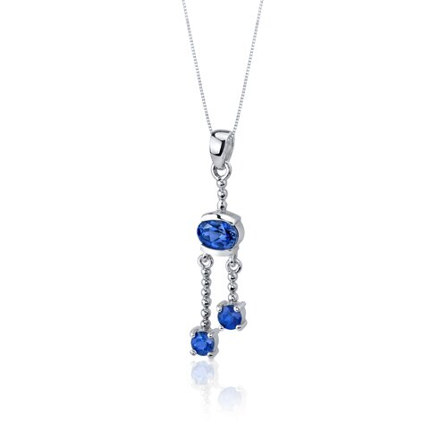 Oravo Charming 3.25 Carats Round Oval Shape Sterling Silver Sapphire Pendant Earrings Set