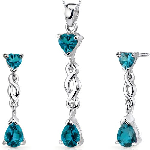 Oravo Enchanting 3.25 Carats Pear Heart Shape Sterling Silver London Blue Topaz Pendant Earrings Set