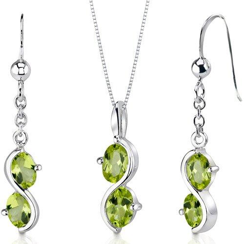 Oravo 2 Stone 3 Carats Oval Shape Sterling Silver Peridot Pendant Earrings Set