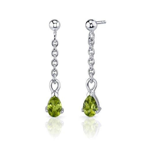 Oravo Dangling 1.5 Carats Pear Shape Sterling Silver Peridot Pendant Earrings Set