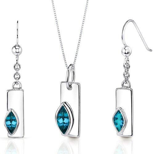 Oravo Art Deco 1.25 Carats Marquise Shape Sterling Silver London Blue Topaz Pendant Earrings Set