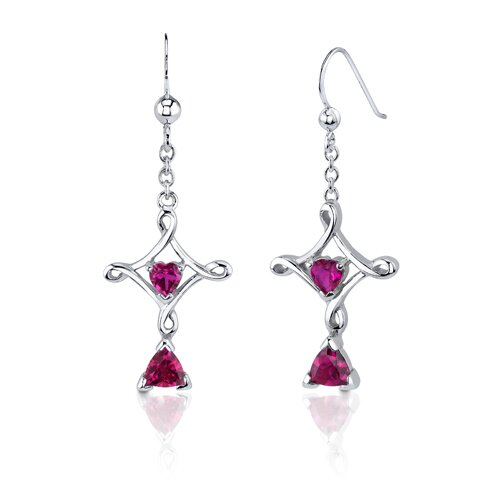 Oravo Cross Design 2.5 Carats Trillion Heart Cut Sterling Silver Ruby Pendant Earrings Set
