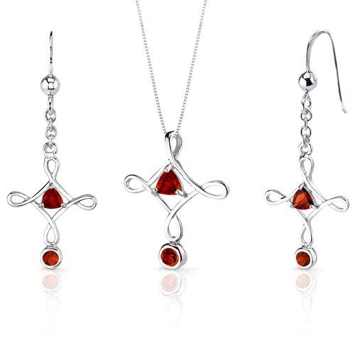 Oravo Cross Design 2 Carats Trillion Cut Sterling Silver Garnet Pendant Earrings Set
