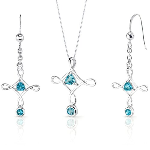 Cross Design 1.5 Carats Trillion Cut Sterling Silver Swiss Blue Topaz Pendant Earrings Set