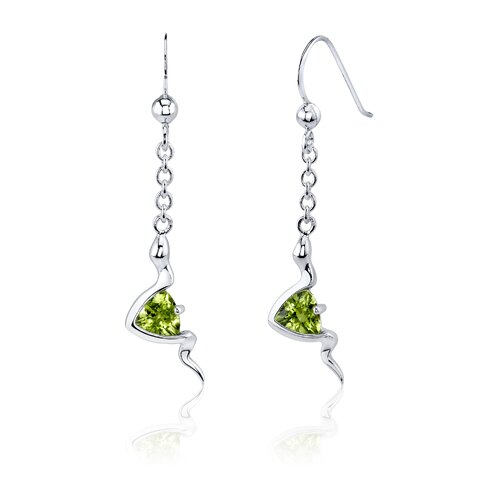 Oravo Contemporary Style 1.5 Carats Trillion Cut Sterling Silver Peridot Pendant Earrings Set