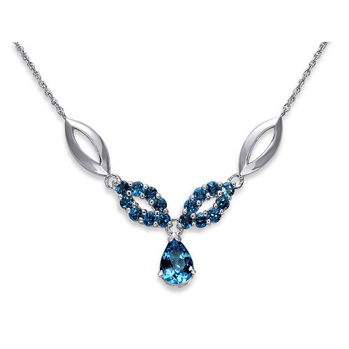 Oravo Gorgeous 4.25 Carats Pear and Round Shape London Blue Topaz Multi-Gemstone Pendant Necklace in Sterling Silver