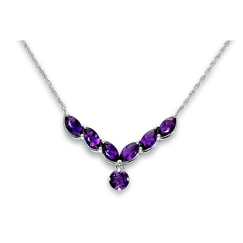 Oravo One of A Kind 3.75 Carats Marquise and Round Shape Amethyst Multi-Gemstone Pendant Necklace in Sterling Silver