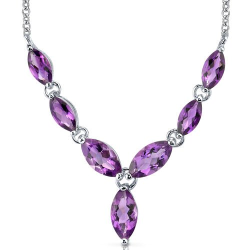 Marvellous 5 Carats Marquise Shape Amethyst Multi-Gemstone Pendant Necklace in Sterling Silver