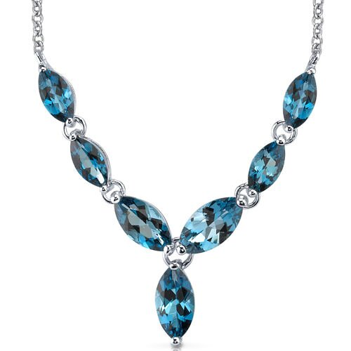 Oravo Marvellous 6.5 Carats T Marquise Shape London Blue Topaz Multi-Gemstone Pendant Necklace in Sterling Silver