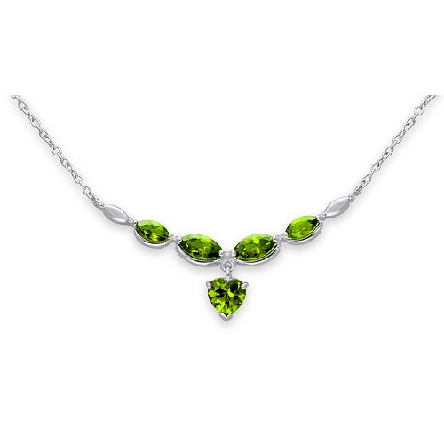 Oravo Elegant 5.25 Carats Heart and Marquise Shape Peridot Multi-Gemstone Necklace in Sterling Silver