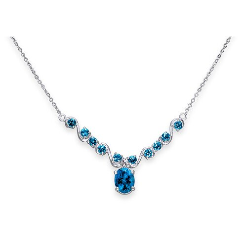 Oravo Trendy 3.5 Carats Oval and Round Shape Swiss Blue Topaz Multi-Gemstone Necklace in Sterling Silver