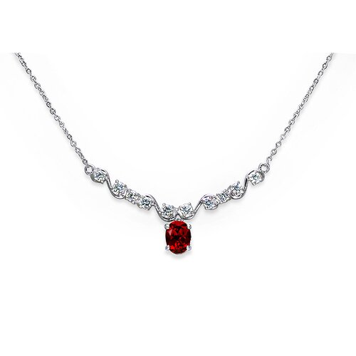 Oravo Trendy 3.5 Crats Oval Shape Created Ruby and White CZ Pendant Necklace in Sterling Silver