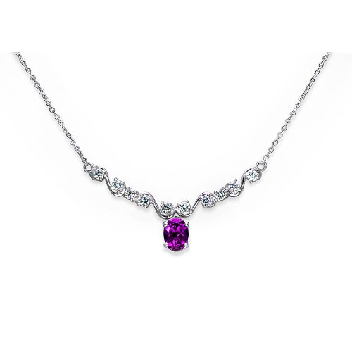 Trendy 1.5 Carats Oval Shape Amethyst and White CZ Gemstone Necklace in Sterling Silver