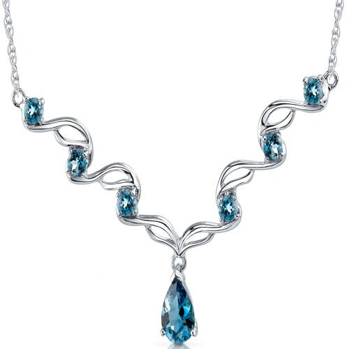 Oravo Eye Catchy 2.75 Carats Pear and Round Shape London Blue Topaz Multi-Gemstone Necklace in Sterling Silver