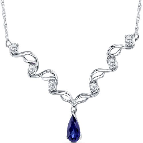 Eye Catchy Pear Shape Created Sapphire and White CZ Pendant Necklace in Sterling Silver