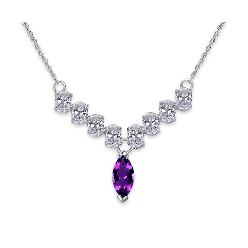 Oravo Bold and Beautiful 1.5 Carats Marquise Shape Amethyst and White CZ Gemstone Necklace in Sterling Silver