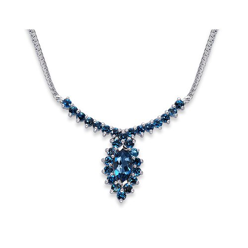 Oravo Majestic 5 Carats Total Weigh Marquise and Round Shape London Blue Topaz Multi-Gemstone Necklace in Sterling Silver