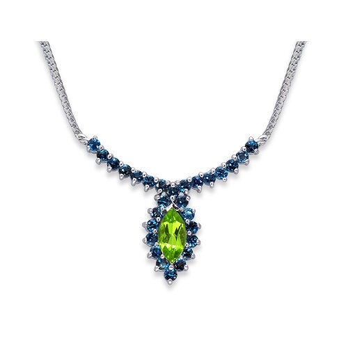 Majestic 5 Carats Total Weigh Marquise and Round Shape Multi-Gemstone Necklace in Sterling Silver