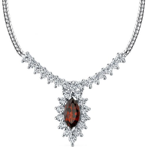 Oravo Majestic 1.75 Carats Total Weigh Marquise Shape Garnet and White CZ Gemstone Necklace in Sterling Silver