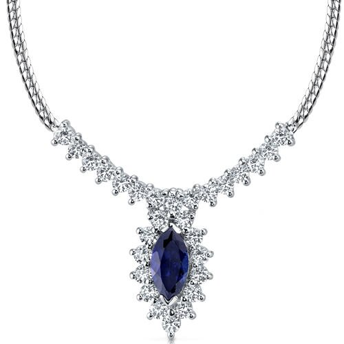 Oravo Majestic Marquise Shape Created Sapphire and White CZ Pendant Necklace in Sterling Silver