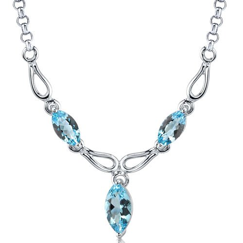 Oravo Attractive 4.25 carats Marquise Shape Swiss Blue Topaz Multi-Gemstone Necklace in Sterling Silver