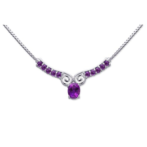 Chic 2.50 carats Oval and Round Shape Amethyst Multi-Gemstone Necklace in Sterling Silver
