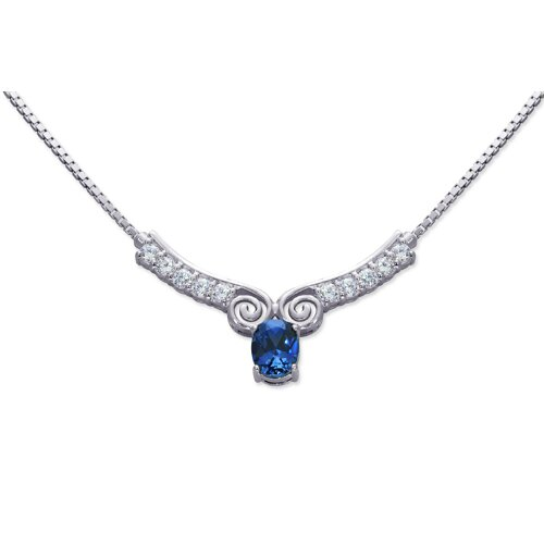 Chic Oval Shape Created Sapphire and White CZ Pendant Necklace in Sterling Silver