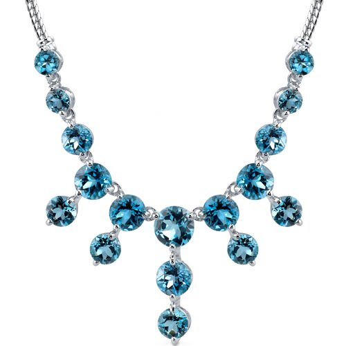 18.75 carats Round Shape London Blue Topaz Multi-Gemstone Necklace in Sterling Silver