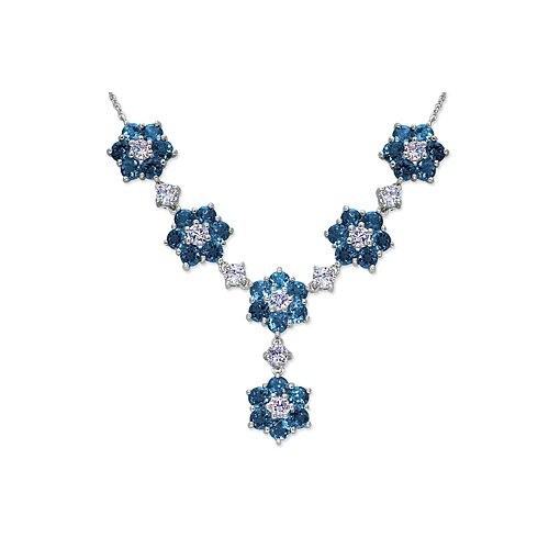 Oravo Flower Design 10.50 carats Round Shape London Blue Topaz and White CZ Gemstone Necklace in Sterling Silver