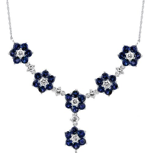 Flower Design Round Shape Created Sapphire and White CZ Pendant Necklace in Sterling Silver