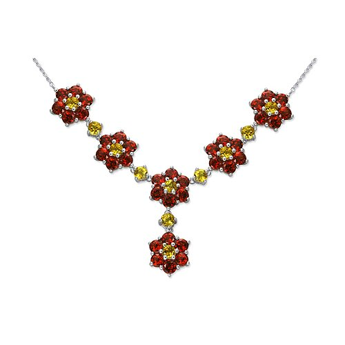 Flower Design 14.00 carats Round Shape Multi-Gemstone Necklace in Sterling Silver