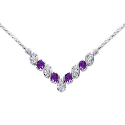 Trendy 3.00 carats Oval Shape Amethyst and White CZ Gemstone Necklace in Sterling Silver