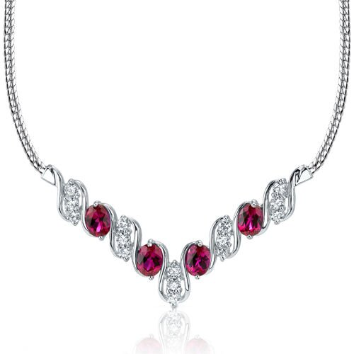 Trendy 4.00 Carats Oval Shape Created Ruby and White CZ Pendant Necklace in Sterling Silver ...