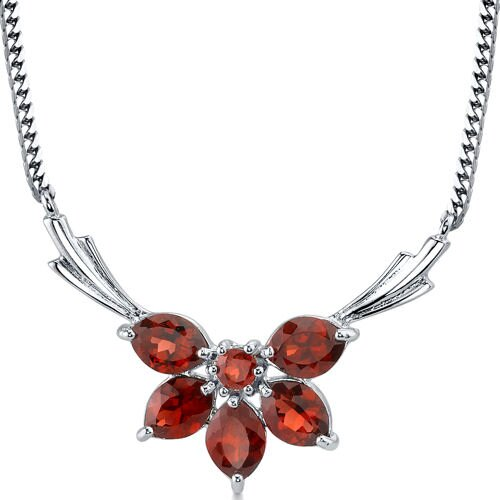 Oravo Express Yourself 4.50 carats Marquise and Round Shape Garnet Multi-Gemstone Necklace in Sterling Silver