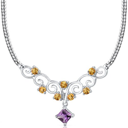 Oravo 1.25 carats Princess Cut and Round Shape Amethyst and Citrine Necklace in Sterling Silver