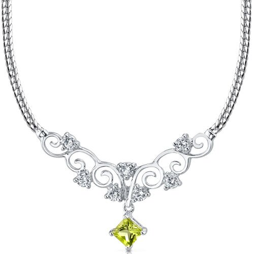 0.50 carats Princess Cut Peridot and White CZ Gemstone Necklace in Sterling Silver