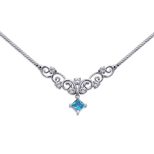 0.50 carats Princess Cut London Blue Topaz and White CZ Gemstone Necklace in Sterling Silver ...