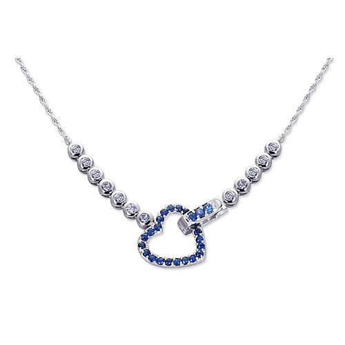 One of a Kind Round Shape Created Sapphire and White CZ Pendant Necklace in Sterling ...