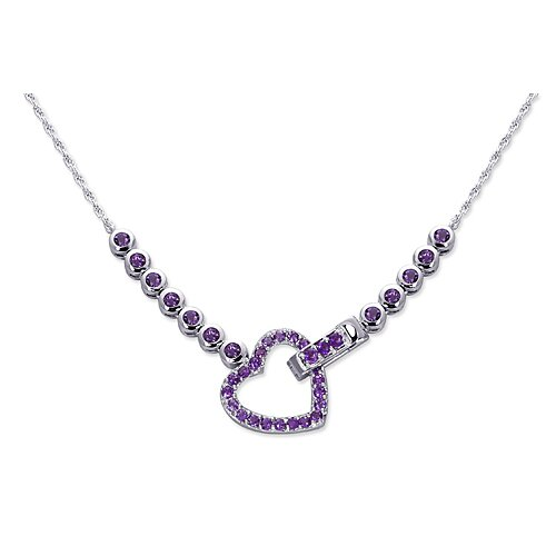 Oravo One of a Kind 2.25 carats Round Shape Amethyst Multi-Gemstone Necklace in Sterling Silver