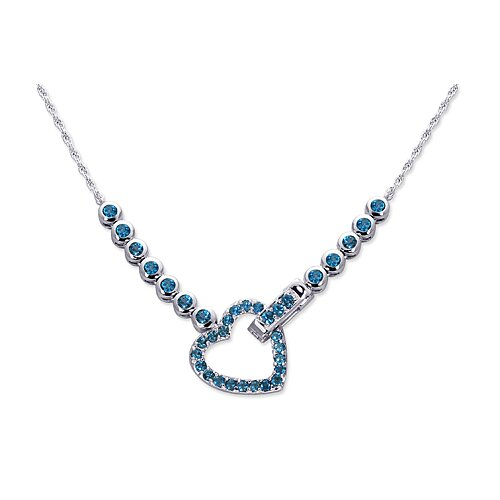 Oravo One of a Kind 2.50 carats Round Shape London Blue Topaz Multi-Gemstone Necklace in Sterling Silver
