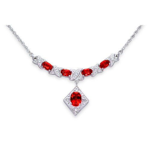 Trendy 3.75 Carats Oval Shape Garnet and White CZ Gemstone Necklace in Sterling Silver