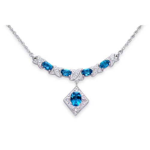 Oravo Trendy 3.75 Carats Oval Shape London Blue Topaz and White CZ Gemstone Necklace in Sterling Silver