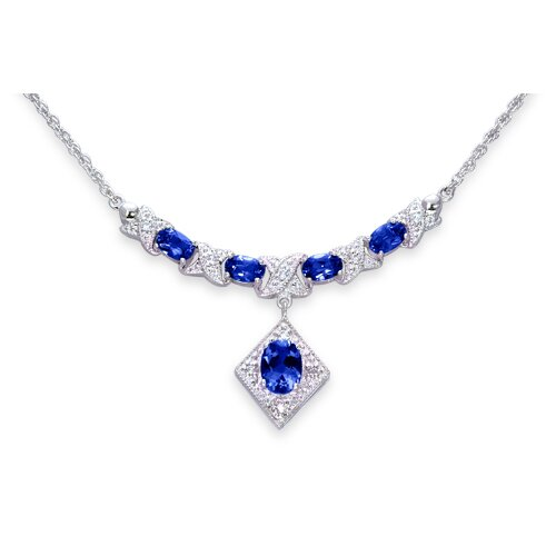 Trendy 3.75 Crats Oval Shape Created Sapphire and White CZ Pendant Necklace in Sterling Silver ...