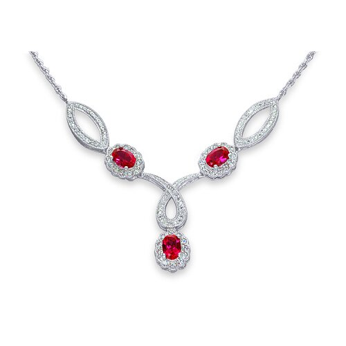 Oravo Antique Style Oval Shape Created Ruby and White CZ Pendant Necklace in Sterling Silver
