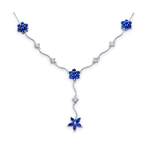 Oravo Classic Beauty Marquise and Round Shape Created Sapphire and White CZ Pendant Necklace in Sterling Silver